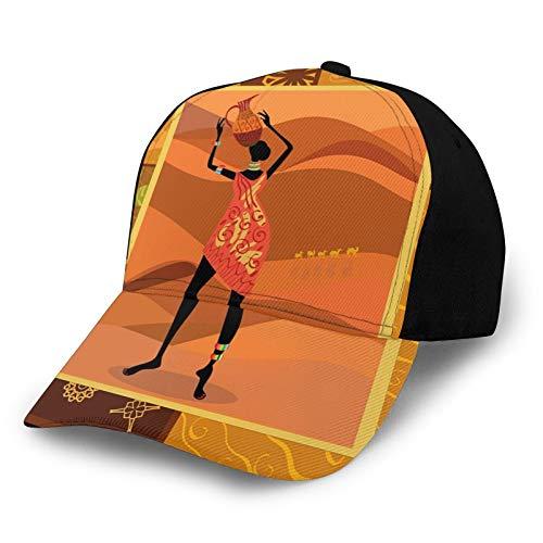 Gorra de béisbol unisex de algodón de perfil bajo lavada en blanco con elementos naturales de otoño para niña nativa con jarrón exótico estampado zulú