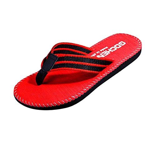 Skxinn Yoga Flip Flops Für Männer, Herren Sommer Zehensandalen Sandalen Pantoletten Pool Bequem Freizeitschuhe Gartenschuhe Badeurlaub Hausschuhe Indoor Outdoor Slipper(Rot,42 EU)
