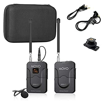 Movo WMX-7 VHF 12-Channel Wireless Lavalier Microphone System with 1 Receiver 1 Transmitter and 1 Lapel Microphone Compatible with DSLRs iPhone/Android Smartphones and Tablets  130 ft Audio Range