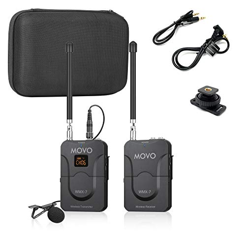 Movo WMX-7 VHF 12-Channel Wireless Lavalier Microphone System with 1 Receiver, 1 Transmitter, and 1 Lapel Microphone Compatible with DSLRs, iPhone/Android Smartphones, and Tablets (130'ft Audio Range)