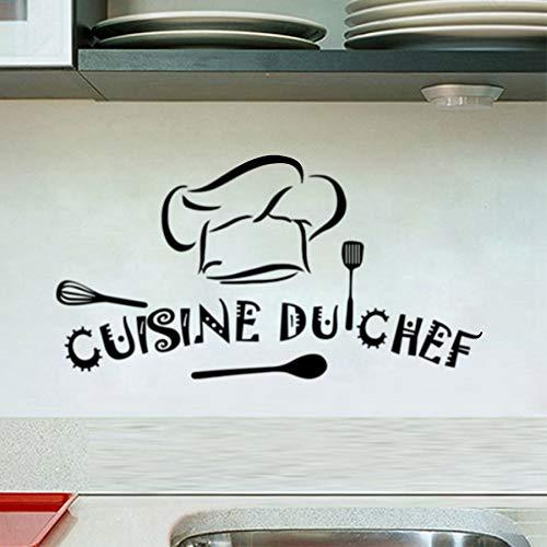 mlpnko Französische Wohnküche Wandaufklebervinyl Aufkleber Restaurant Küche abnehmbare Wandaufkleber DIY Wohnkultur Wandkunst Wandbild , 80x42cm