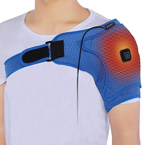 Ortesis de hombro con calefacción, vendaje de soporte de hombro de neopreno ajustable para lesiones, dolor de hombro, articulaciones de CA, hombreras ajustables para aliviar el dolor de los mú