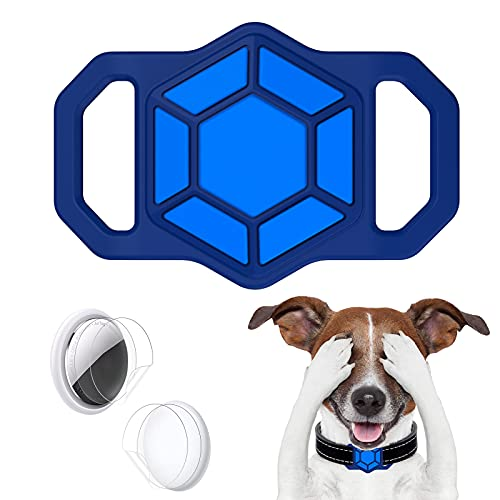 anhänger für Airtag Hundehalsband, Silikon AirTag Hülle Halter für Apple Airtag GPS Tracking Finder Hund Katzenhalsband Schlaufenzubehör, Anti-verlorene tragbare Air Tag Schutzhülle (Blau)