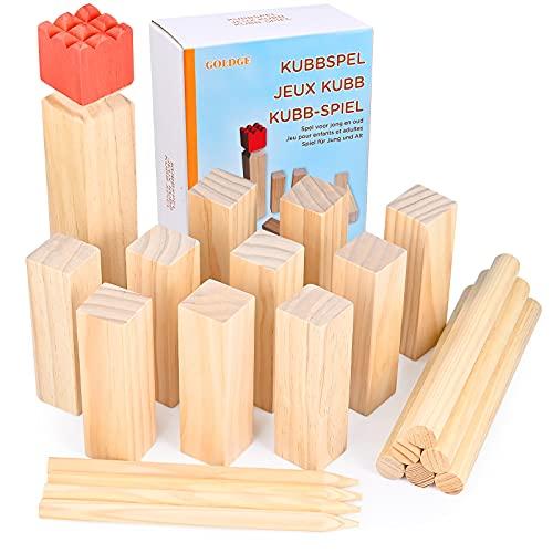 GOLDGE Kubb - Juego de ajedrez vikingo, figuras de madera, juego de madera para niños y adultos, juegos al aire libre