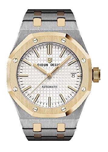 Sportlich Elegante Herren Automatik Uhr, Saphirglas, massives Armband, Miyota Uhrwerk, Didun Royal One Farbe: Silber/Gold/Weiss