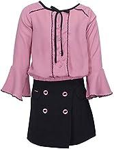 Cutecumber Girls Georgette Embellished Beige Top with Self Pinstripe Fabric Embellished Wrap Black Skirt.4428AB-DUSTYPINK
