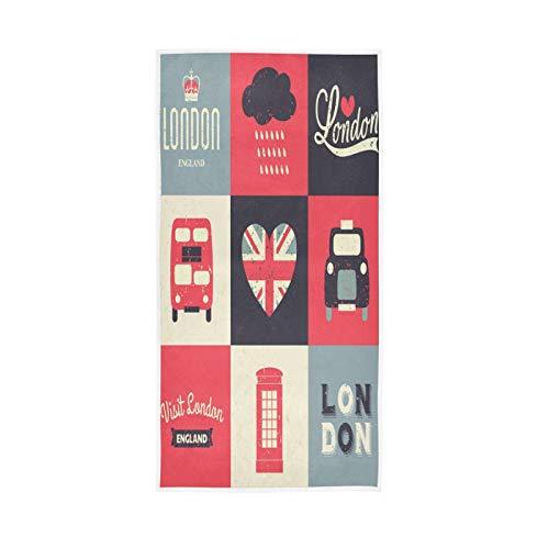 PIXIUXIU - Toallas de mano de secado rápido, diseño retro de Londres símbolos absorbentes para coche, suaves, gruesas, absorbentes, para uso diario, 76 x 15 pulgadas