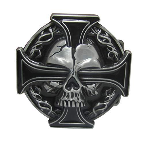 LKMY Mens Belt Buckle, Western Skull and Celtic Cross Biker Belt Buckle for Mens Womens Father's Day (Black)