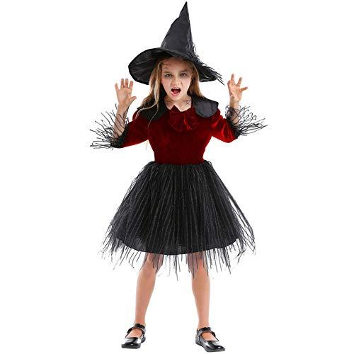 Disfraces para niños Material de lana de algodón niña traje de vestido de princesa esponjoso pequeña bruja familia de padres e hijos adecuado para la fiesta escolar de Halloween COSPLAY,Red,XS