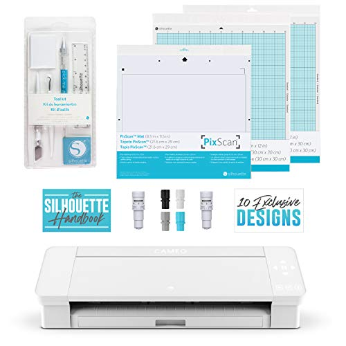 Cameo 4 Extras Bundle with Extra AutoBlade, Tool Kit, Cutting mat and PixScan. Silhouette Handbook and 10 White Edition