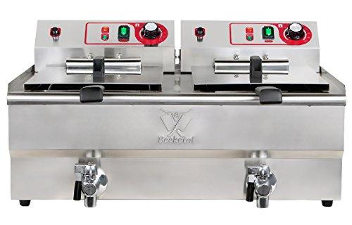 Beeketal 'BWF-162' Profi Gastronomie Doppel Kaltzonen Fritteuse (2 x 16l Volumen für max. 2 x 11l Öl) Edelstahl Gastro Imbiss Friteuse mit Doppelheizspirale und Fettablaufhahn - 400V Starkstrom