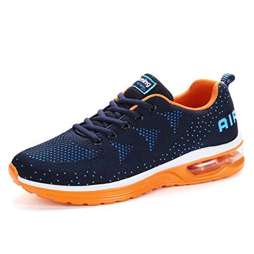 Monrinda Unisex Zapatillas de Deporte Mujer Deportivo Zapatos para Correr Hombre Runing Sports Trainers Gimnasio Air Cushion blueorange 38EU