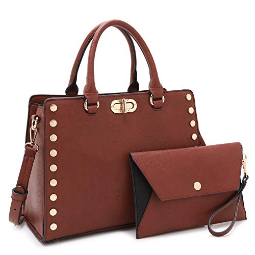 Dasein Purses and Handbags for Women Satchel Bags Top Handle Shoulder Bag Work Tote Bag With Matching Wallet (Coffee)