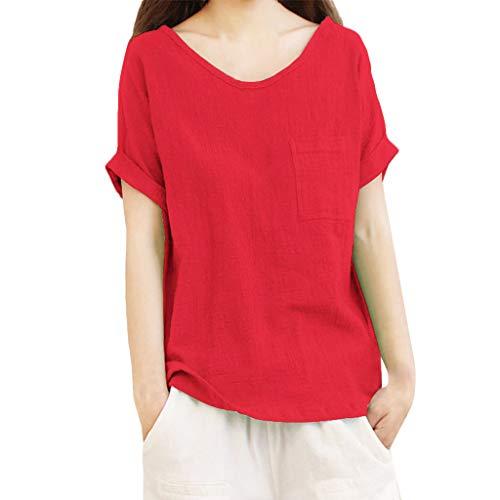 Luckycat Camisetas Mangas Corta Mujer Camisa De Lino Top Casual De Mujer Blusa Suelta Solida Mujer Manga Corta Camiseta Ropa Casual De Mujer Blusas Tops para Mujer Camiseta Mujeres Tops