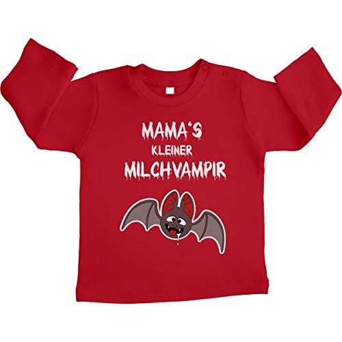 Halloween Baby Kostüm Shirt Mamas Milchvampir Unisex Baby Langarmshirt 3-6 Monate / 66 Rot