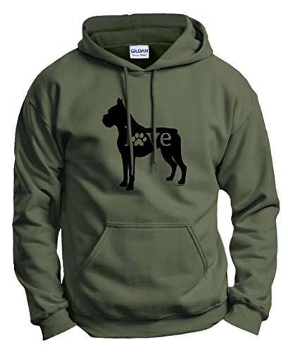 Dog Owner Gifts Boxer Love Dog Paw Prints Hoodie Sweatshirt 2XL MlGrn Military Green