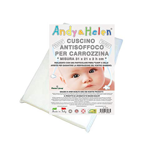 ANDY & HELEN A010 Cuscino Culla Antisoffoco Color Bianco Ottico 70 Gr