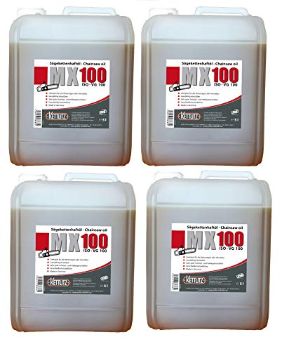 4 X 5 Litri KETTLITZ-Chain Oil MX100 Olio per Catena per Motosega ad Alte Prestazioni, Olio per Catene - Made in Germany
