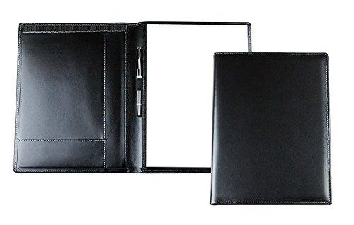 DELMON VARONE - Cartella Porta Documenti personalizzabile DIN A4 in pelle Cambridge Top Grain nero, Portadocumenti per conferenze Business Organizer con blocco note, portapenne e custodia per appunti
