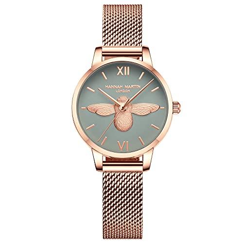 Reloj Mujer de Cuarzo Pequeña Abeja Elegante, Reloj de Pulsera, Reloj Analógico para Mujer, Diseño Clásico Moda, Ideal para Llevar al Trabajo, Universidad, Reuniónes etc,Green
