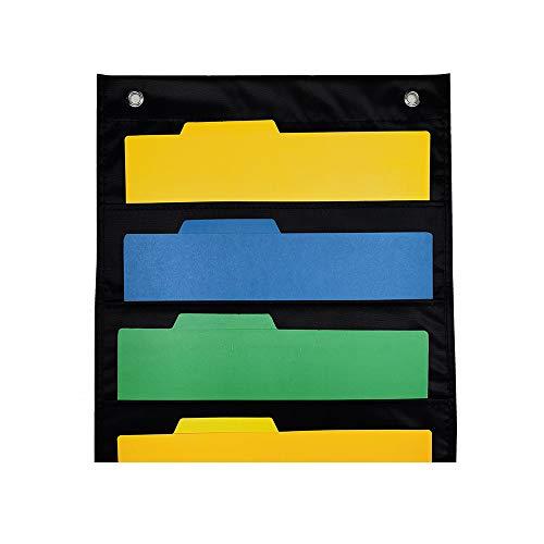 Walory Organizador de Archivos de Pared Colgante, Organizador de archivos de pared para colgar, grande, 5 bolsillos, organizador de bolsillo de almacenamiento con 2 perchas, soporte para carpetas,