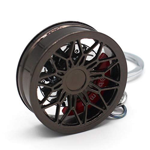 VmG-Store Felge Schlüsselanhänger aus Metall Design 125 Anhänger für Schlüssel (Black Chrom)