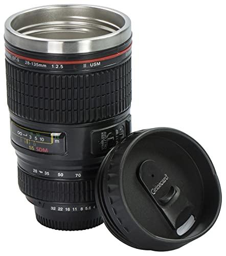 Grinscard Bicchiere da caffè con Coperchio Drink & Go - Design Fotocamera Digitale Nero 0,35 l - Gadget Tazza Termica da Viaggio
