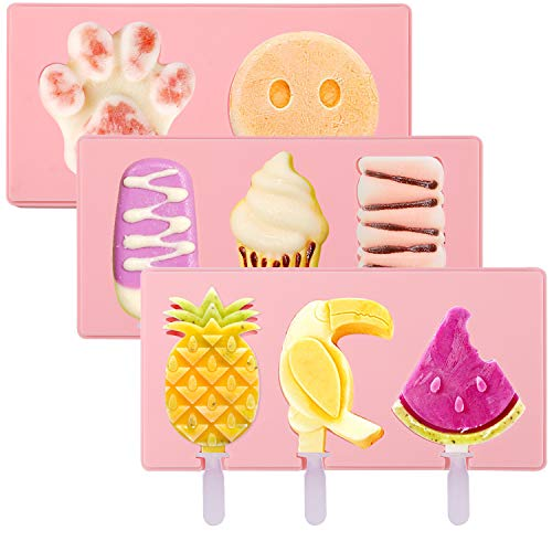 PHOGARY Silikon Eisform für Kinder, 8 Muster Handgemachte DIY EIS am Stiel Formen mit 8 Sticks, Frozen Dessert Schokoladenkuchen EIS am Stiel Maker Formen