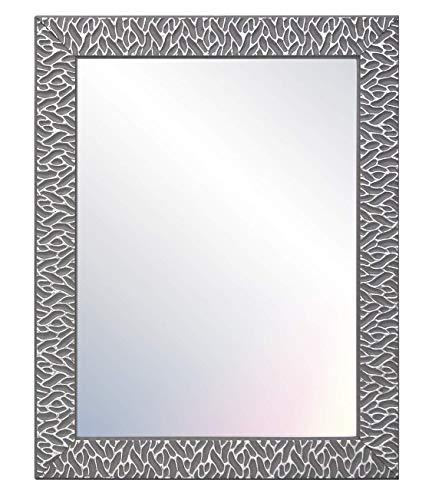 Chely Intermarket, Espejo de Pared Cuerpo Entero 40x50cm (Marco Exterior 48x58cm) (Gris/Raya Plateado) MOD-156 | Forma Rectangular | Decoración de salón, recibidor | Acabado Elegante (156-40x50-2,55)