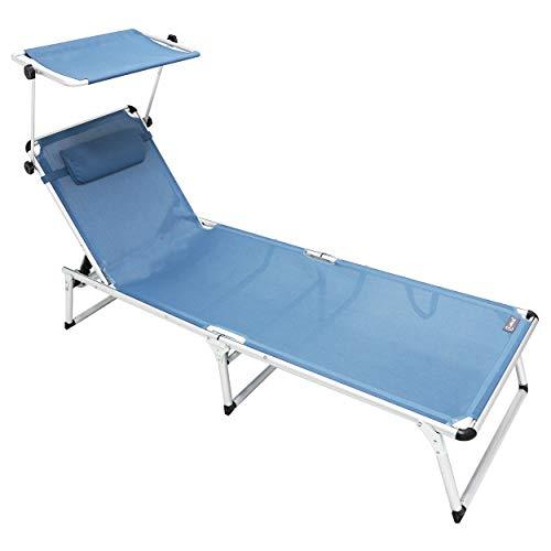 Homecall - Tumbona plegable de aluminio con parasol, Azul