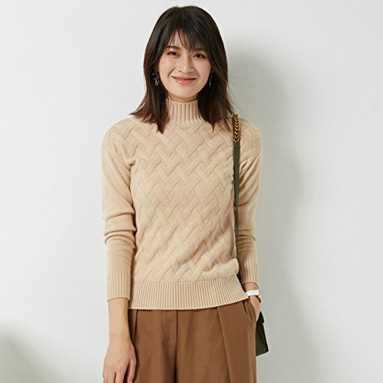 HY-Sweater Gestricktes Hemd mit hohem Kragen Rautenförmiges Gitter Halbhoher Kragen Schlank Plus Dicke Sätze von Frauen Koreanische Version, Kamel, M B0772WM313  Neuankömmling