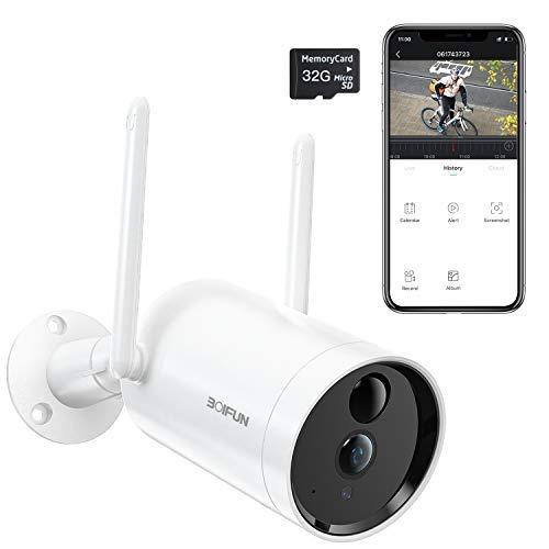 Camara Vigilancia WiFi Exterior, BOIFUN 1080P Cámara de Seguridad IP con Batería de 10400 mAh, Impermeable IP66, Visión Nocturna, Notificaciones, Comunicación Bidireccional [Presentó Tarjeta SD 32G]