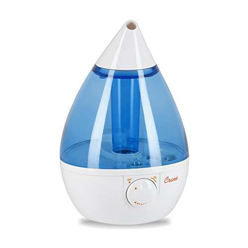 Crane USA Humidifiers - Ultrasonic Cool Mist Humidifier, Filter-Free, 1 Gallon, for Home Bedroom Baby Nursery and Office, Blue and White