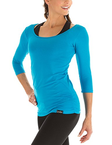Winshape Damen Fitness Yoga Pilates 3/4-Arm Shirt WS4, Türkis, Gr. M