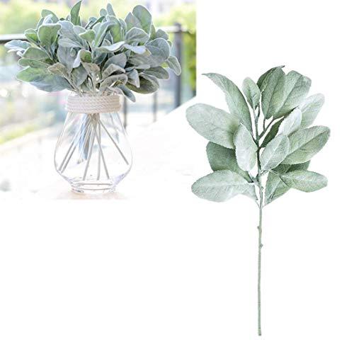 10Pcs Artificial Flowers Flocked Rabbit Ear Leaf Fake Greenery Lamb's Ear Leaf for Floral Arrangement, Home Table Wedding Bouquet Decoration, DIY Craft, Green