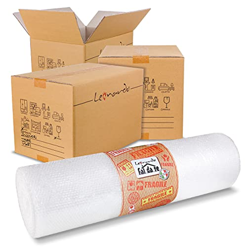 Kit Leonardo Fai Da Te - cartoni 60x40x40 10 PZ + rotolo di pluriball 100 cm x 10 metri - kit trasloco , kit spedizione , kit imballaggio. KIT MEDIO.