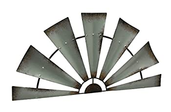 LL Home Metal Windmill Semi-Circle Wall Home Decor One Size Gray