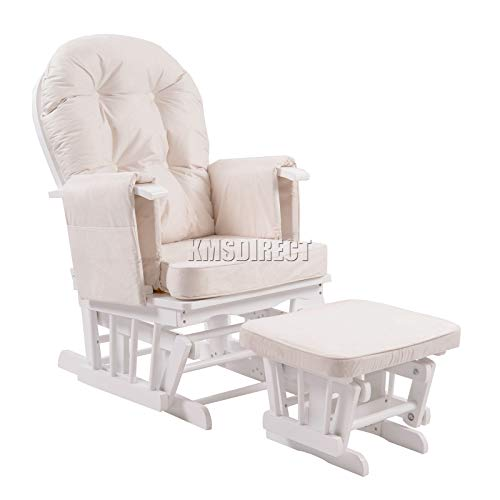 WestWood Nursing Glider Maternity Rocking Chair with Footstool White Wood Frame Cream Cushion Cover