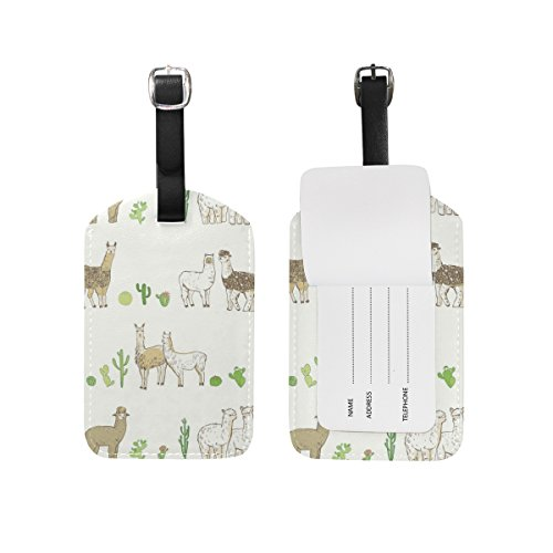 My Daily Funny Lama Cactus Luggage Tags PU Leather Bag Suitcases Baggage Label 2 Pieces Set