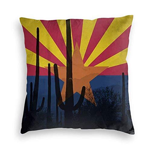 Ahdyr Cactus Art Plant Arizona Flag Vintga Velvet Soft Square Throw Pillow Fundas Decoración para el hogar Decoraciones Funda de cojín para sofá Interior Dormitorio Coche 18 x 18 Pulgadas