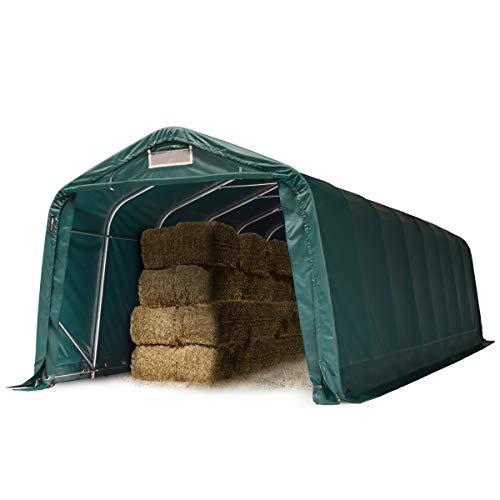 Robusto Refugio de pastizal 3,3x9,6 m Impermeable Aprox. 550g/m² Lona PVC Tienda de Almacenamiento, Verde
