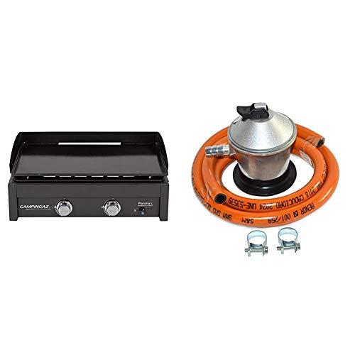 Campingaz Plancha L - Plancha de gas con dos quemadores de acero aluminizado, 7.5 kW de potencia + S&M 321771 Regulador de Gas Butano Goma M + 2 Abraz, Gris/Naranja, 1,5 metros de tubo