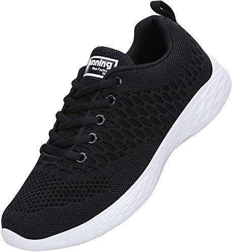 ALI&BOY Mujer Gimnasia Ligero Sneakers Zapatillas de Deportivos de Running para(40 EU, Negro/Blanco)