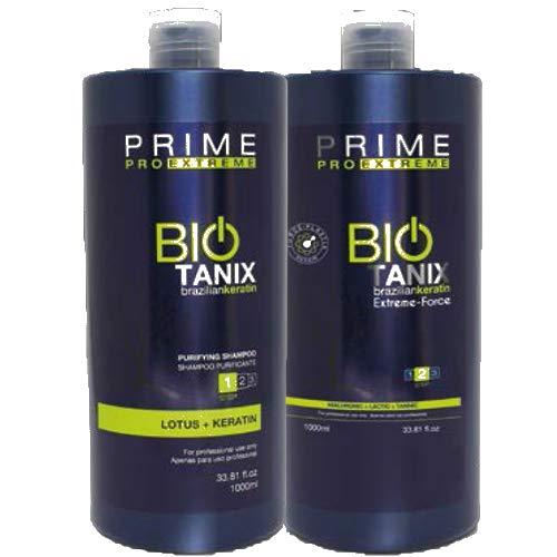 BIO TANIX, BRAZILIAN PROTEIN, PRIME PRO EXTERME, BRAZILIAN KERATIN, HAARGLÄTTUNG, HAIR SMOOTHING, STEP 1&2, (Shampoo 1000 ml & Reducer 1000 ml)
