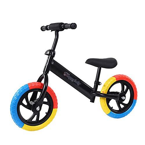 XJMPYGR 12'Niños sin Pedal, Bicicleta de Bicicleta de Bicicleta de Bicicleta de Bastidor de Acero al Carbono, para Jinetes Principiantes y niños pequeños de 1 a 7 años (Llantas de Colores),Negro