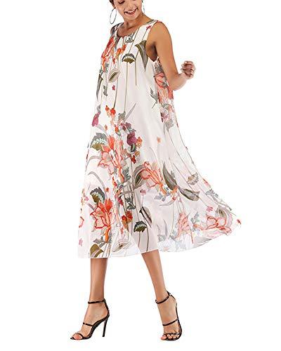 Mujeres sin Mangas Estampado Floral Vestidos Casual de Verano Vestido de Gasa Cuello Redondo Vestidos Largos Blanco M