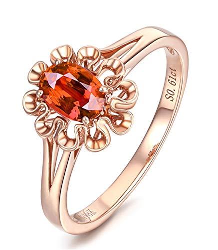 KnSam Bague Femme Fine Saphir 0.61ct Fleur élégance, Or Rose 18 Carats Élégance Cadeau Noël