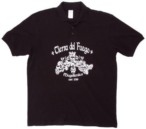 Coole Fun T-shirts Tierra del fuego MAGELLANICA poloshirt zwart voor+achter, blauw, maat: S