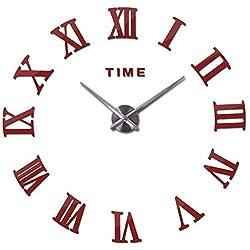 Wenzi-day 3D Big Wall Clock DIY Quartz Watch Still Life Clocks Modern Home Decoration Living Room Stickers,Red,27inch