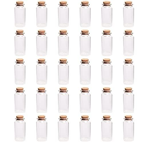30 Piezas Botella de Cristal de Corcho, Botes Cristal PequeñOs Tapones De Corcho, Botella de Vidrio de 30 ml, para Material de Artesanía, Adornos, Adornos de Boda y Botellas de Muestra(Vidrio)